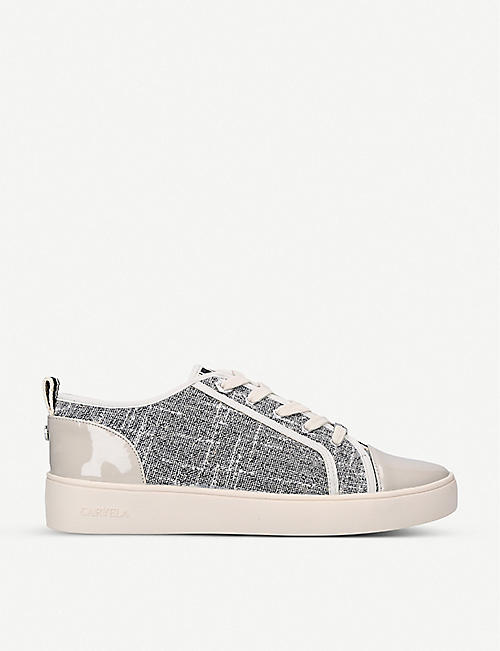 CARVELA: Lyric striped woven trainers