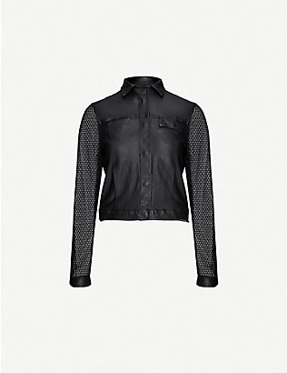 10SEIOTTO: Contrast sleeve leather jacket