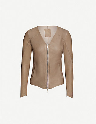 10SEIOTTO: V-neck leather jacket