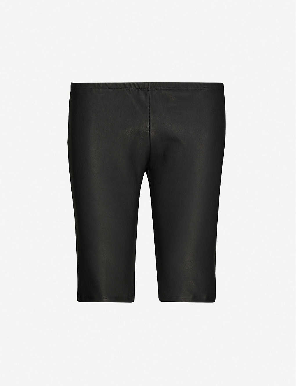 10SEIOTTO: Slim-fit high-rise leather shorts
