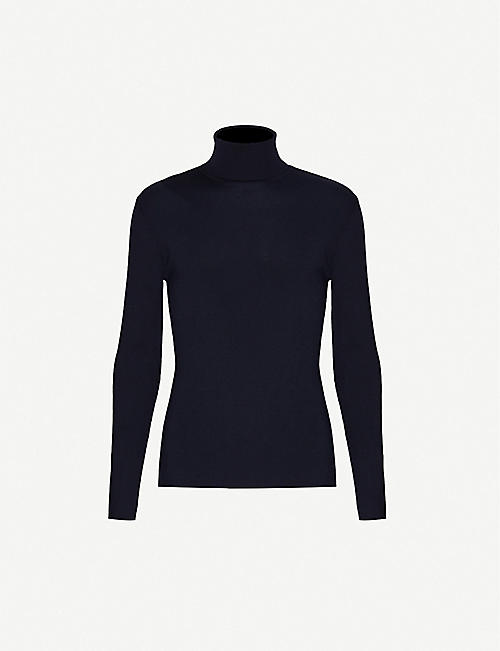 RALPH LAUREN PURPLE LABEL: Logo-embroidered wool turtleneck jumper