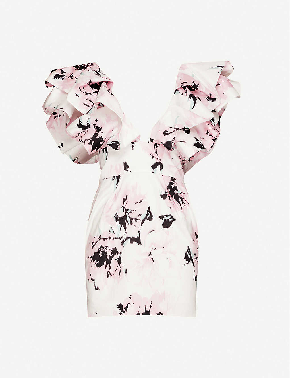 ALEXANDRE VAUTHIER: Floral-print ruffle cotton mini dress