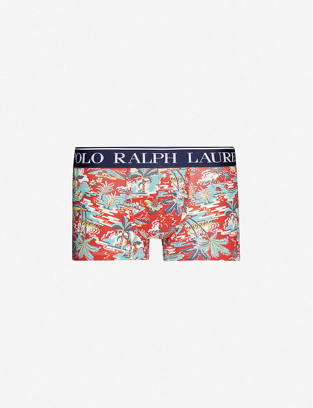 POLO RALPH LAUREN: Graphic-print slim-fit low-rise stretch-jersey trunks