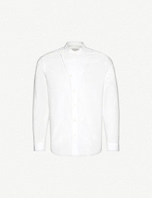TIGER OF SWEDEN Asymmetrical Mandarin-collar cotton shirt