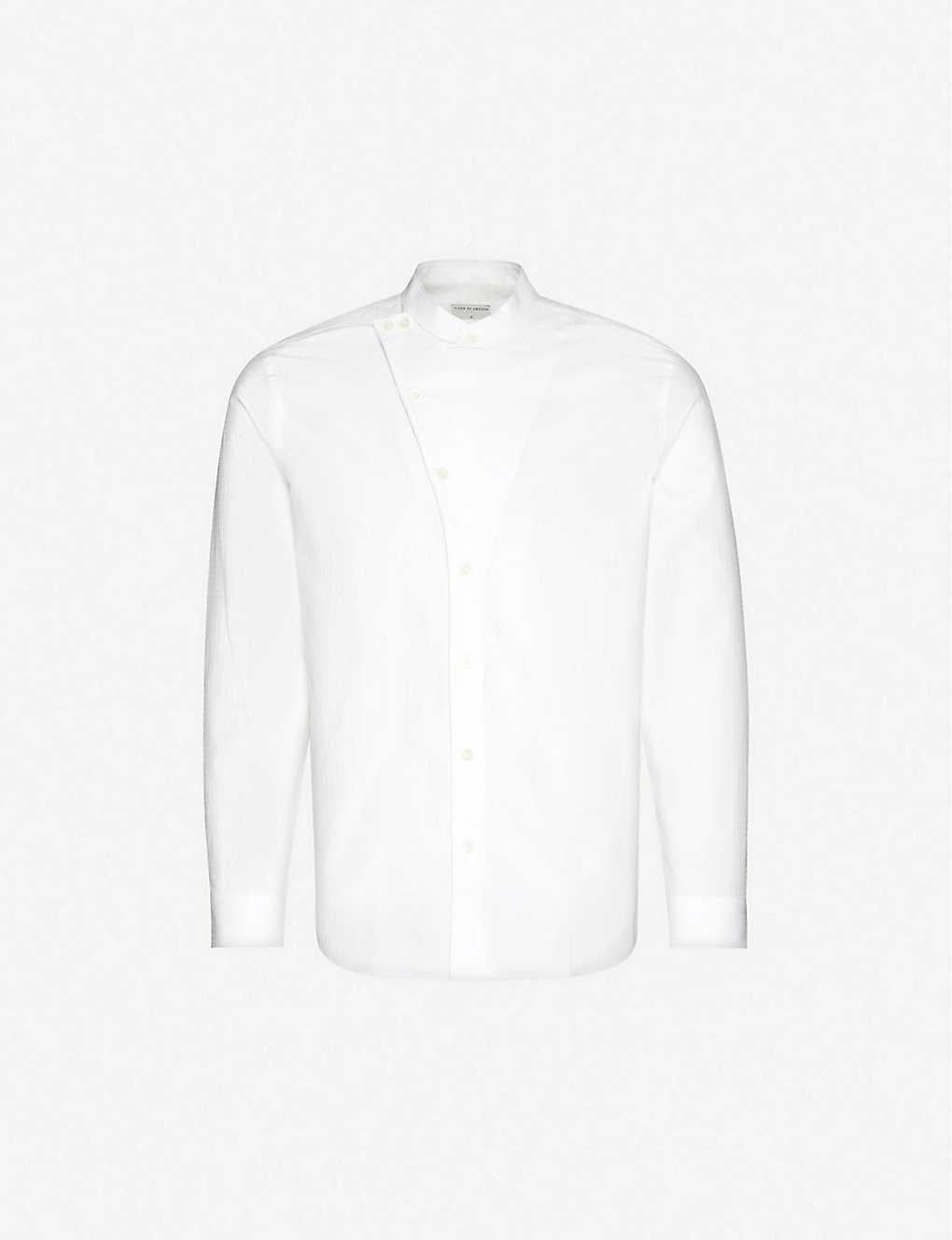 TIGER OF SWEDEN: Asymmetrical Mandarin-collar cotton shirt