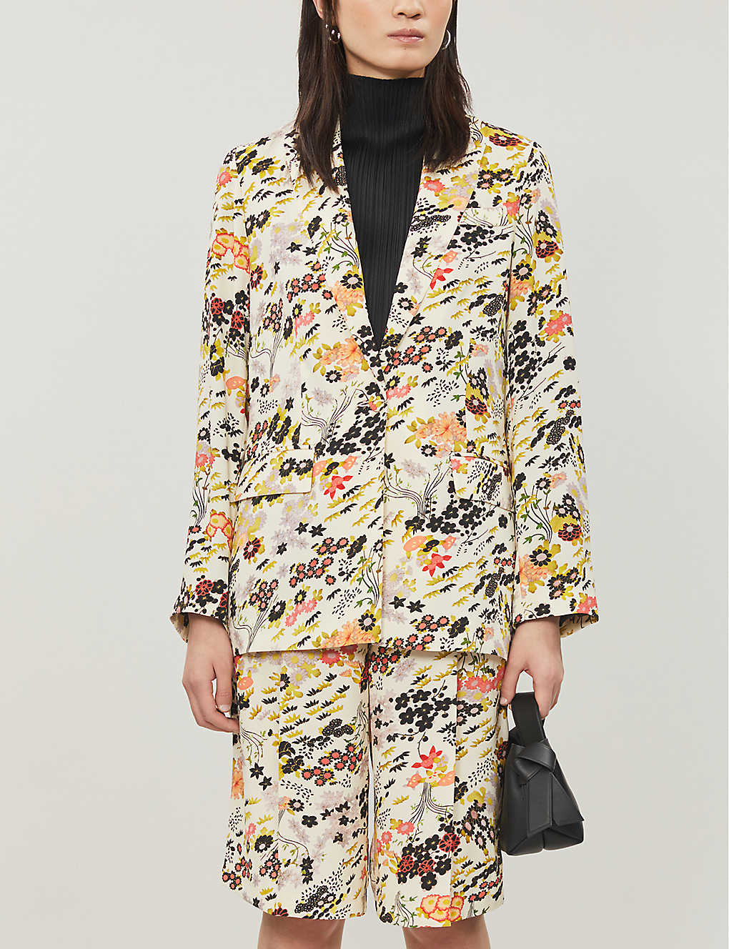 TOPSHOP: Floral-print single-breasted crepe blazer