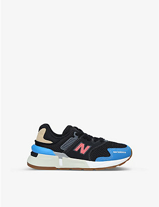 NEW BALANCE: 997 suede and mesh low-top trainers 6-8 years