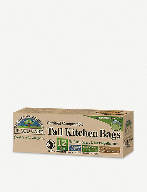 IF YOU CARE: Compostable tall kitchen bin bags box of 12
