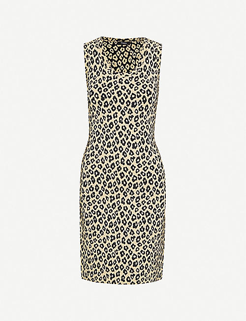 THEORY Gloss leopard-print stretch-jersey midi dress