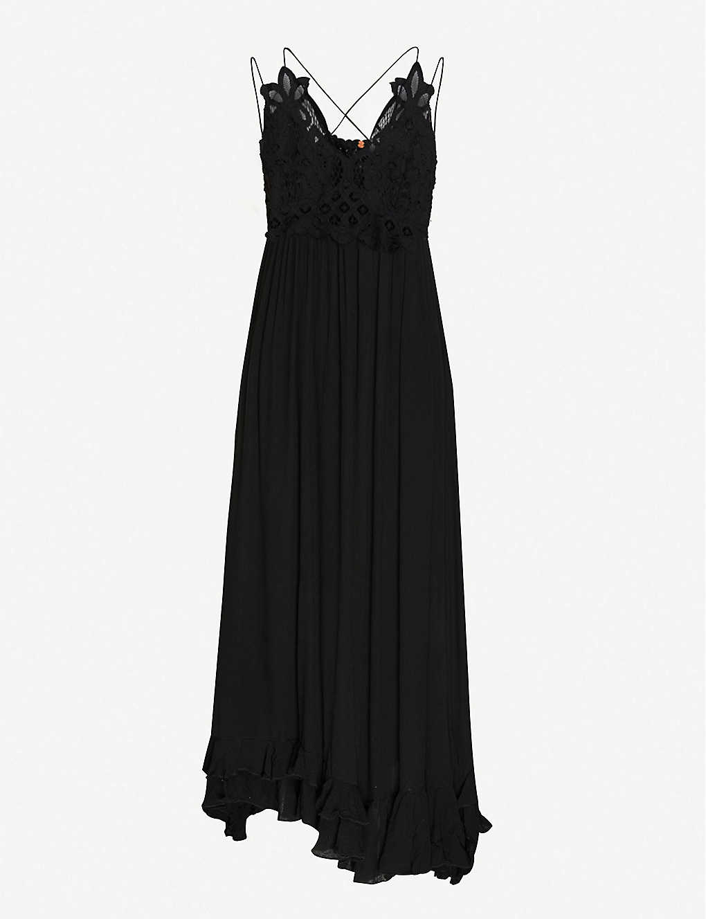 FREE PEOPLE: Adella floral-embroidered woven maxi dress