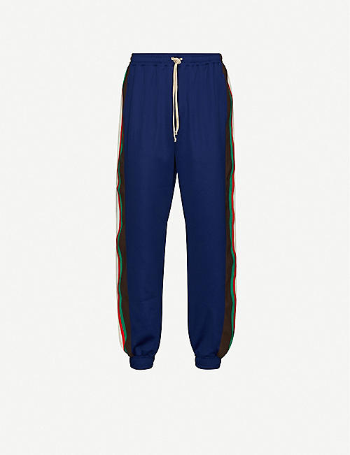 GUCCI: Side-stripe cotton-jersey jogging bottoms