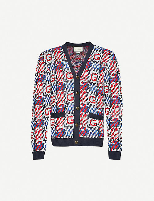 GUCCI: Logo-intarsia V-neck linen and cotton-blend cardigan