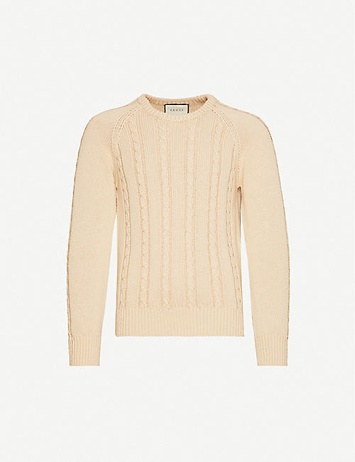 GUCCI: Cable-knit relaxed-fit cotton-knit jumper