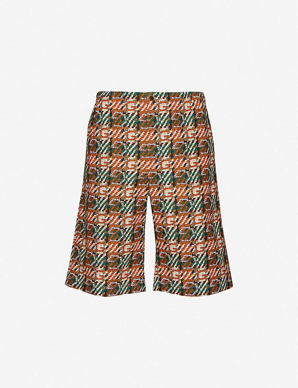 GUCCI: Hermon geometric-pattern relaxed-fit cotton shorts
