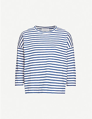 WHISTLES: Striped cotton-jersey top