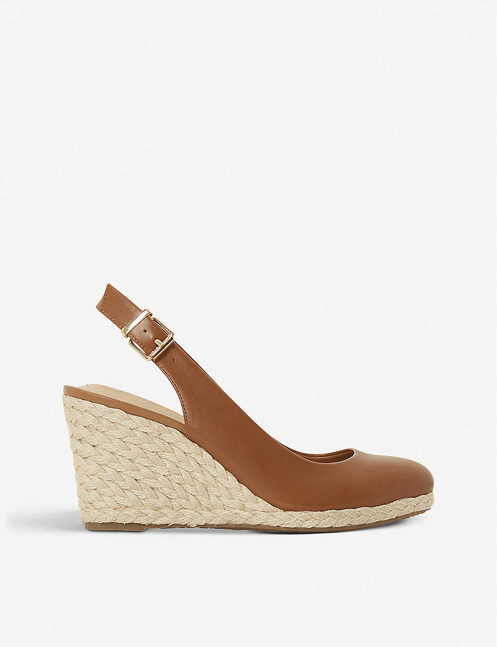 DUNE: Codi leather espadrille wedge courts