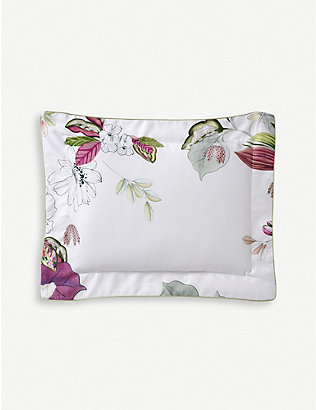 YVES DELORME: Riviera floral-print cotton oxford pillowcase 50cm x 75cm