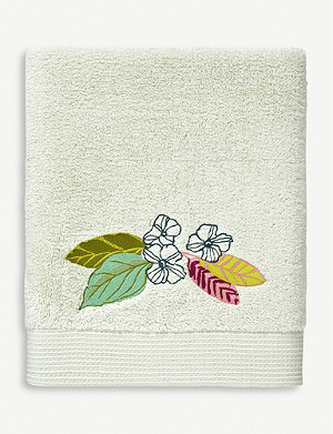 YVES DELORME Riviera floral-embroidered cotton bath sheet 92cm x 160cm