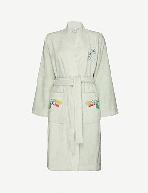 YVES DELORME Riviera floral-embroidered cotton-towelling dressing gown