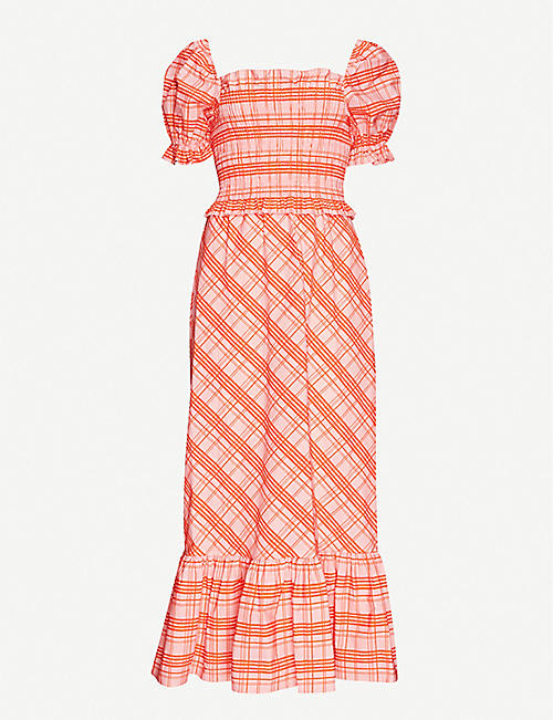 TOPSHOP Checked cotton midi dress