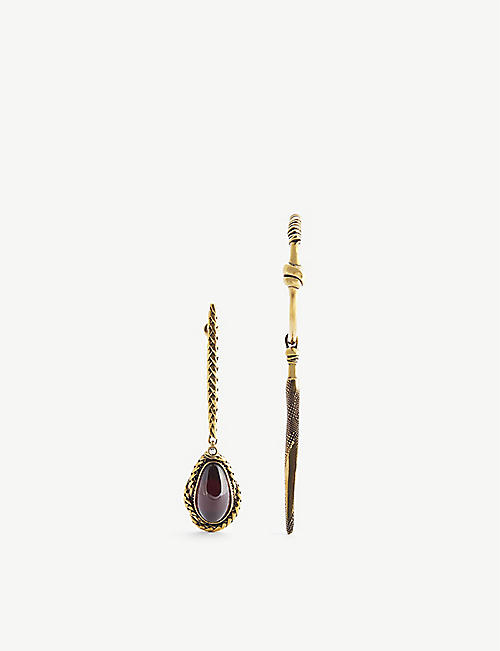 ALEXANDER MCQUEEN Asymmetrical brass drop earrings