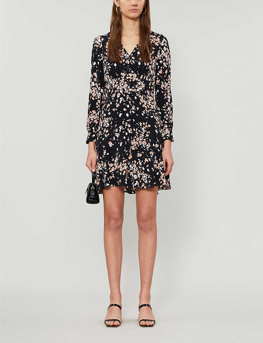 WHISTLES: Abstract animal-print crepe mini dress