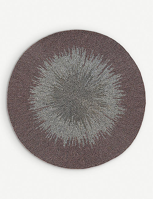 JOANNA BUCHANAN: Ombré hand-embellished glass and cotton placemat 38cm