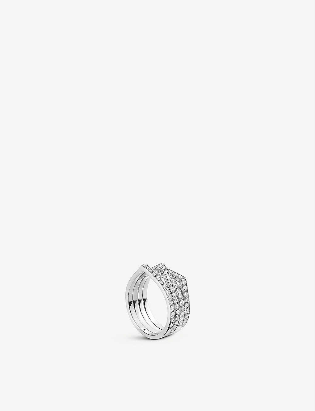 REPOSSI: Antifer 18ct white-gold and diamond stacked ring