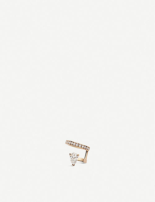 REPOSSI: Serti Sur Vide 18ct rose-gold and diamond pavé right ear cuff