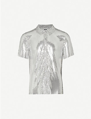 PACO RABANNE: Spread-collar chainmail shirt