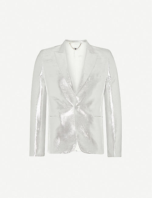 PACO RABANNE: Metallic single-breasted woven blazer