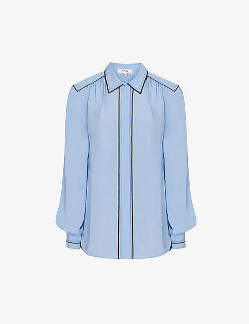 REISS: Ella contrast piping woven shirt