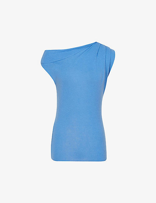 REISS: Melanie wool and cashmere-blend Bardot top