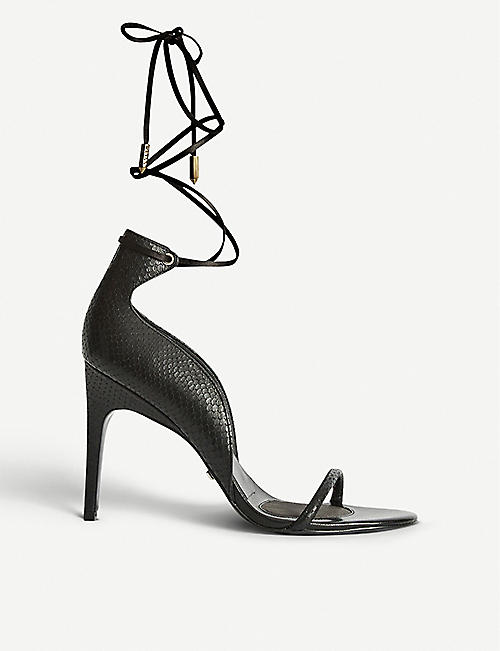 REISS: Coco ankle tie snakeskin-embossed leather heeled sandals