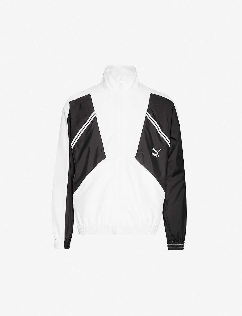 PUMA: Logo-print contrast-panel shell jacket