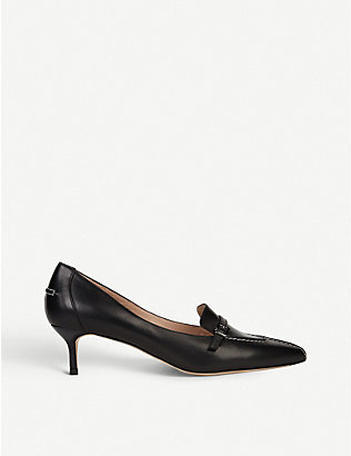 LK BENNETT: Farah buckle-embellished leather courts