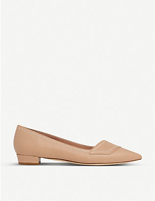 LK BENNETT: Polly contrast-stitch leather heeled ballet flats