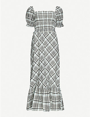 TOPSHOP: Checked cotton midi dress