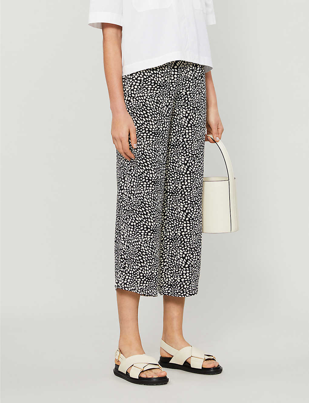WHISTLES: Abstract animal print high-rise woven trousers