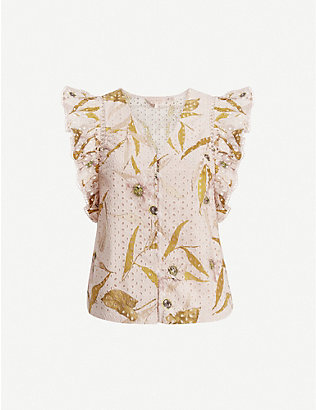 TED BAKER: Adaale Cabana printed broderie anglaise cotton blouse