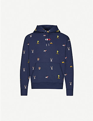 TOMMY JEANS: Looney Tunes x Tommy Jeans embroidered cotton-blend jersey hoody