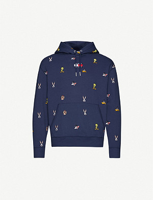 TOMMY JEANS Looney Tunes x Tommy Jeans embroidered cotton-blend jersey hoody