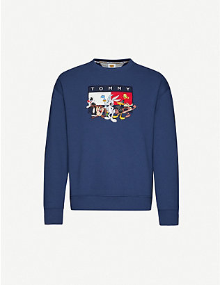 TOMMY JEANS: Looney Tunes x Tommy Jeans cartoon-embroidered cotton-blend jersey sweatshirt