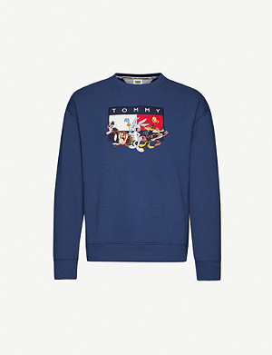 TOMMY JEANS Looney Tunes x Tommy Jeans cartoon-embroidered cotton-blend jersey sweatshirt