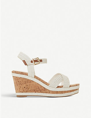 DUNE: Kelisa faux-leather wedge sandals