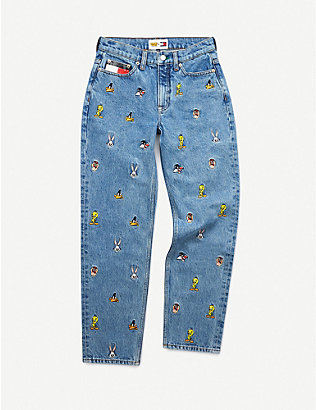 TOMMY JEANS: Looney Tunes x Tommy Jeans mid-rise straight graphic-embroidered jeans