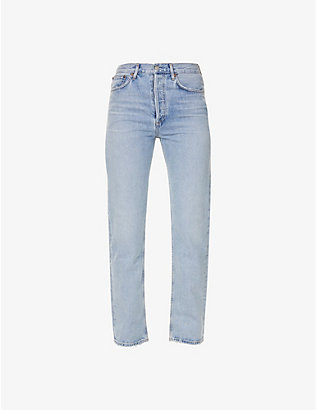 AGOLDE: Lana straight high-rise organic-cotton jeans