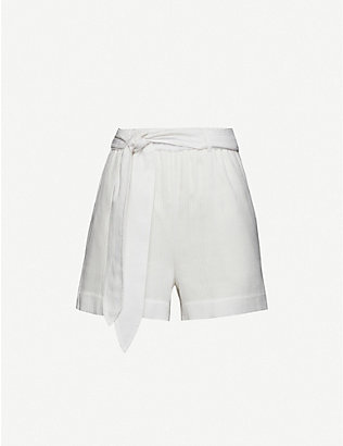 PEONY: Magnolia tie-belt organic cotton and hemp-blend shorts