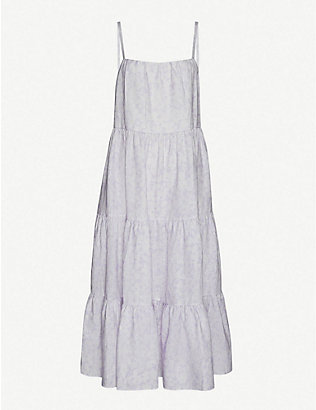 PEONY: Lavender floral-print tiered linen midi dress