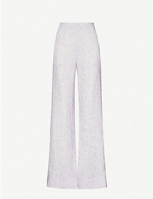 PEONY: Vacation printed wide-leg high-rise linen trousers